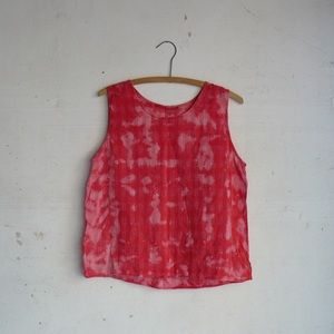 Vintage red tie dyed top linen flax tank 1990s 90s